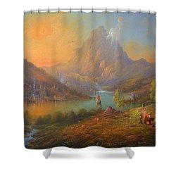 The Lonely Mountain Smaug Shower Curtain by Joe  Gilronan
