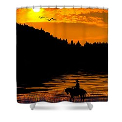 The Lonesome Cowboy Shower Curtain by Diane Schuster