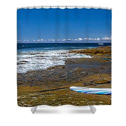 The Long Board Shower Curtain by Peter Tellone