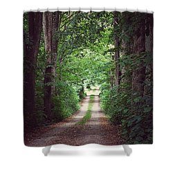 Shower Curtain featuring the photograph The Long Driveway by Karen Stahlros