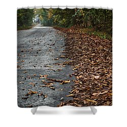 Shower Curtain featuring the photograph The Long Road Home by Mark Guinn