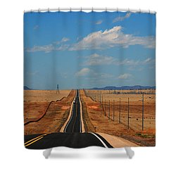 The Long Road To Santa Fe Shower Curtain by Susanne Van Hulst
