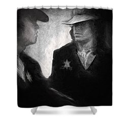Shower Curtain featuring the drawing The Looking Glass by Michael Cleere