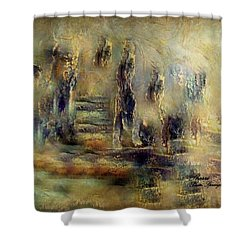 Shower Curtain featuring the painting The Lost City By Sherriofpalmsprings by Sherri  Of Palm Springs