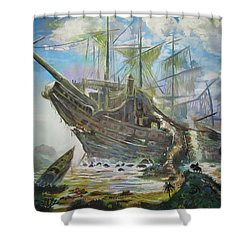 The Lost Ship Shower Curtain