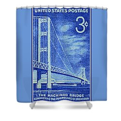 The Mackinac Bridge Stamp Shower Curtain