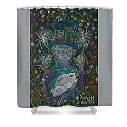 The Maddening Hatter Shower Curtain by Dawn Fairies