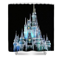The Magic Kingdom Castle In Frosty Light Blue Walt Disney World Mp Shower Curtain