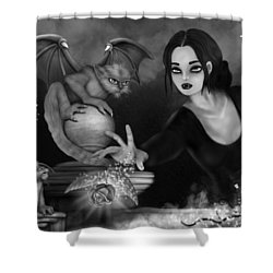 The Magic Rose - Black And White Fantasy Art Shower Curtain
