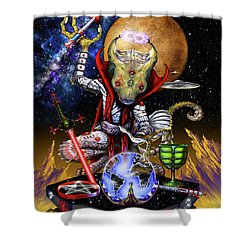 Shower Curtain featuring the digital art The Magician 78 Tarot Astral Card by Stanley Morrison