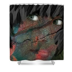 The Maiden And The Crow Shower Curtain by Lesa Fine