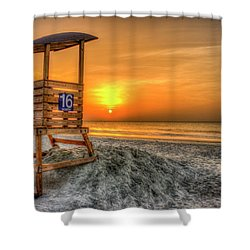 Shower Curtain featuring the photograph The Main Attraction Tybee Island Sunrise Lifeguard Stand Beach Art by Reid Callaway