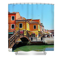 The Main Street On The Island Of Burano, Italy Shower Curtain
