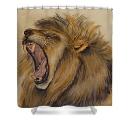 The Majestic Roar Shower Curtain by Kelly Mills