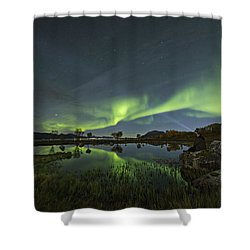 The Man Under The Aurora Sky Shower Curtain