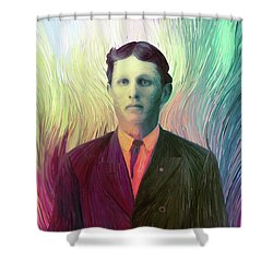 The Man With The Eyes Shower Curtain by Matt Lindley