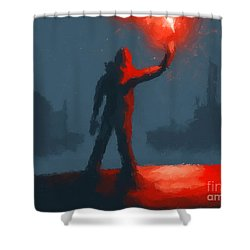 The Man With The Flare Shower Curtain by Pixel  Chimp