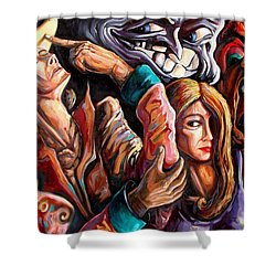 The Manipulation From The Anti-consciousness Monsters Shower Curtain by Darwin Leon