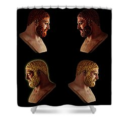 Shower Curtain featuring the mixed media The Many Faces Of Hercules 2 by Shawn Dall