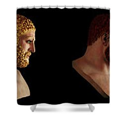 Shower Curtain featuring the mixed media The Many Faces Of Hercules by Shawn Dall