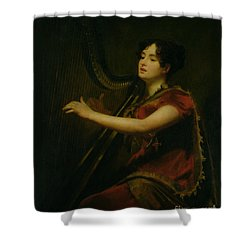 The Marchioness Of Northampton Playing A Harp Shower Curtain by Sir Henry Raeburn