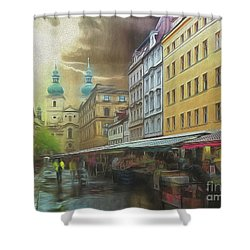 The Market In The Rain Shower Curtain