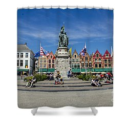 Shower Curtain featuring the photograph The Markt Of Bruges by Pravine Chester