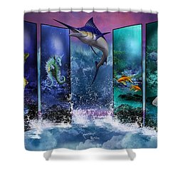 The Marlin And His Sea Friends  Shower Curtain by Ali Oppy