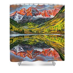 The Maroon Bells  Shower Curtain by Aaron Spong