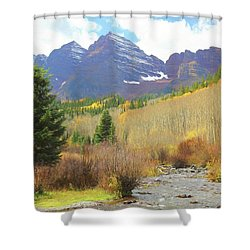 Shower Curtain featuring the photograph The Maroon Bells Reimagined 3 by Eric Glaser