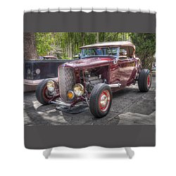 Maroon T Bucket Shower Curtain