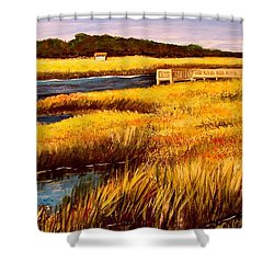 Shower Curtain featuring the painting The Marsh At Cherry Grove Myrtle Beach South Carolina by Patricia L Davidson