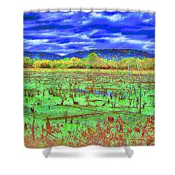 Shower Curtain featuring the photograph The Marshlands by B Wayne Mullins