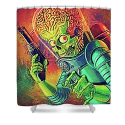 The Martian - Mars Attacks Shower Curtain by Taylan Apukovska