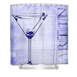 The Martini Blueprint Shower Curtain by Jon Neidert