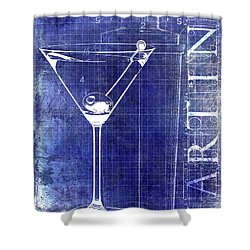 The Martini Patent Blue Shower Curtain by Jon Neidert