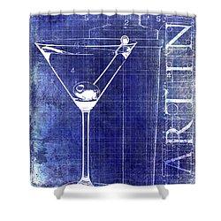 The Martini Patent Blue Shower Curtain by Jon Neidert