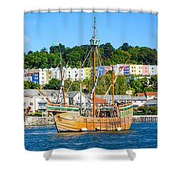 Shower Curtain featuring the photograph The Matthew In Bristol Harbour by Colin Rayner