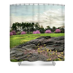 Shower Curtain featuring the photograph The Meadow Beyond by Jessica Jenney