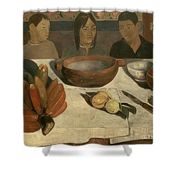 The Meal Shower Curtain by Paul Gauguin