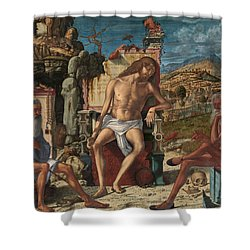 Shower Curtain featuring the painting The Meditation On The Passion by Vittore Carpaccio