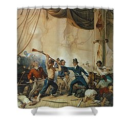 The Melee On Board The Chesapeake Shower Curtain by Anonymous