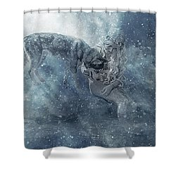 The Mermaid And The Husky Shower Curtain