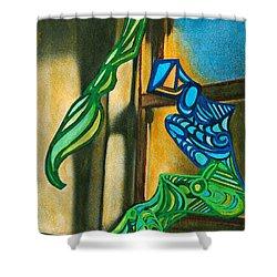 The Mermaid On The Window Sill Shower Curtain by Sarah Loft