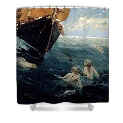 The Mermaid's Rock Shower Curtain by Edward Matthew Hale