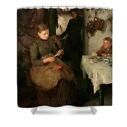 Shower Curtain featuring the painting The Message by Henry Scott Tuke