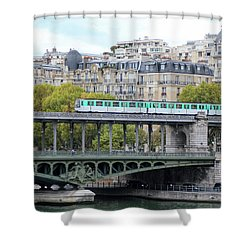 Shower Curtain featuring the photograph The Metro On The Bridge by Yoel Koskas
