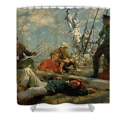The Midday Rest Sailors Yarning Shower Curtain by Henry Scott Tuke