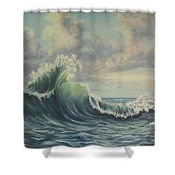 The Mighty Atlantic Shower Curtain by Wanda Dansereau