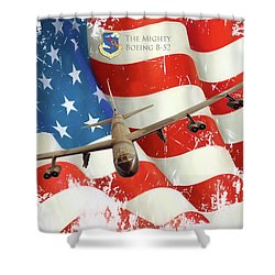 The Mighty B-52 Shower Curtain by Peter Chilelli